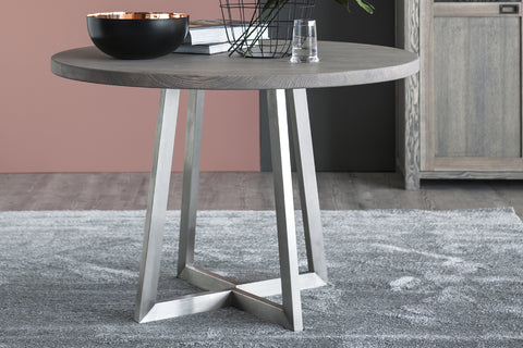 Designer Ash - Ancona Range Round Dining table 120cm - 160cm diameter - 3cm thick plank top with steel legs