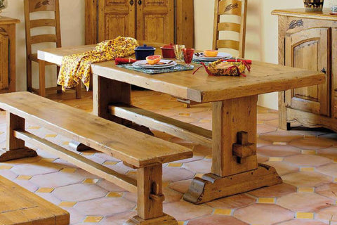 End Extending French Mountain Oak 7cm thick Framed Top Monastery Table - Beam leg