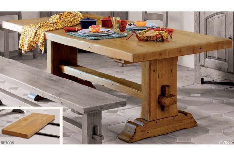 End Extending French Mountain Oak 5.5cm thick Plank Top Monastery Table - Beam leg