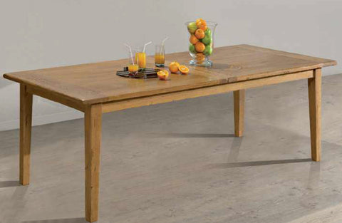 Farmhouse French Mountain Oak Centrally Extending Table - lightweight 2.8cm top - tapered leg