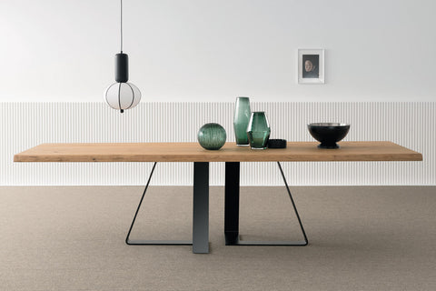 Designer Bassano Oak - Ferro Range Rectangular Dining table - 4.5cm thick natural surface table with natural edge - optional extensions - sizes from 180cm - 400cm