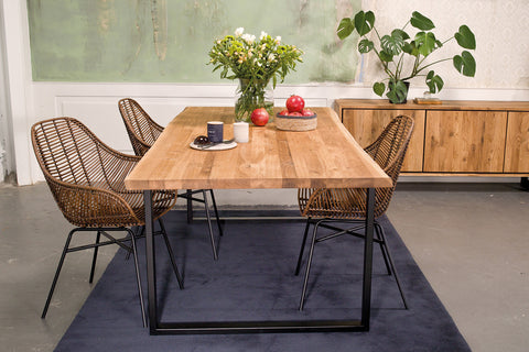 Forest Oak Table top with  U industrial steel legs with natural edge and smooth C4 oiled top