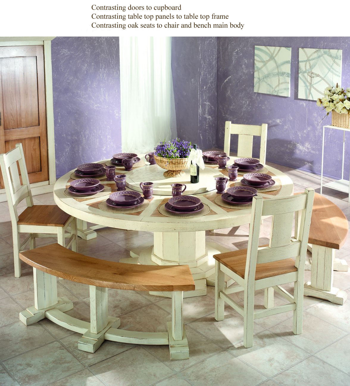 French Country Oak Round Dining Table round table 200cm with