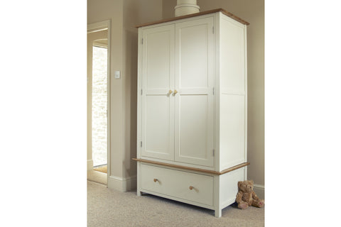 European Painted Oak Bedroom Range - wardrobe - double with drawer