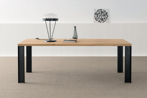 Designer Bassano Oak - Pier Range with steel legs - Rectangular Dining table - 4cm thick smooth table - optional extensions - sizes from 140cm - 400cm