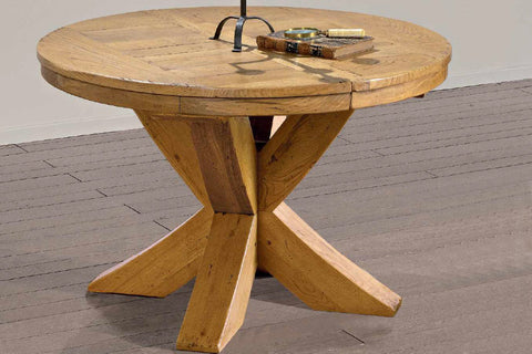 Extending Round French Mountain Oak Table - X leg