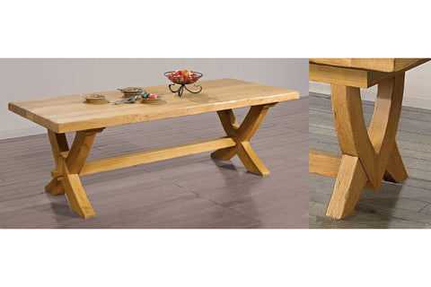 End Extending French Mountain Oak 5.5cm thick Plank Top Monastery Table - V leg