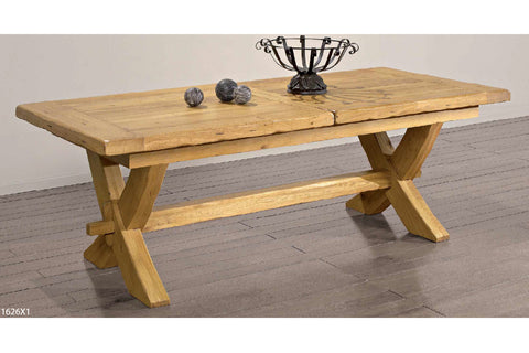 Extending French Mountain Oak Monastery Table - X leg