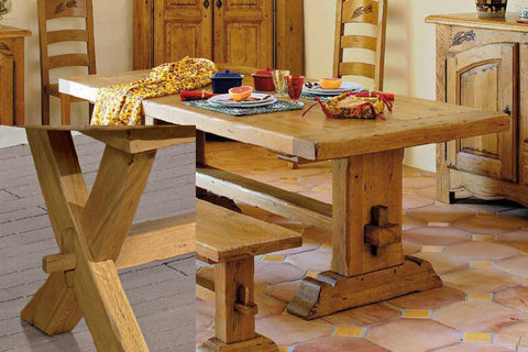 End Extending French Mountain Oak 7cm thick Framed Top Monastery Table - X leg