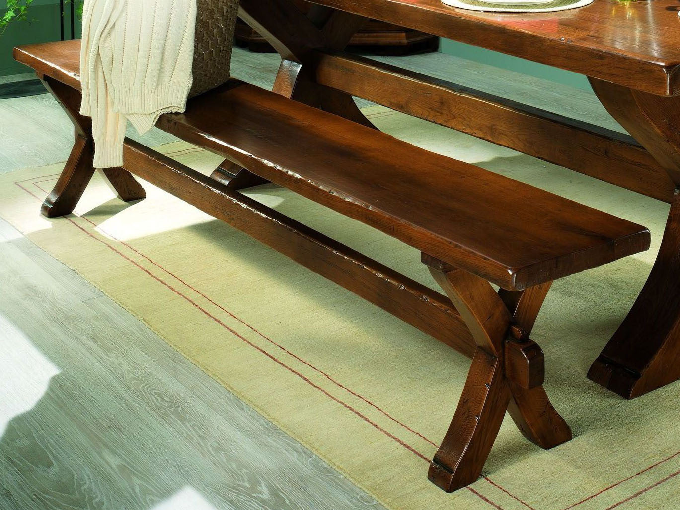French Country Oak   Dining Bench   X Leg Monastery   3 Sizes