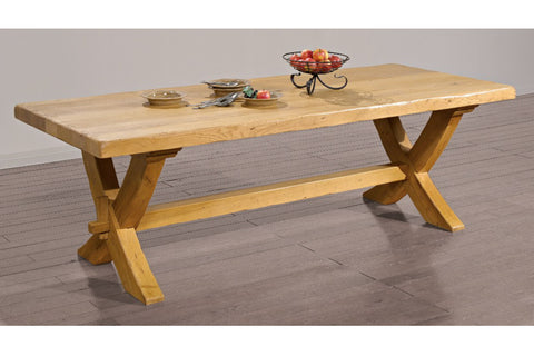 End Extending French Mountain Oak 5.5cm thick Plank Top Monastery Table - X leg