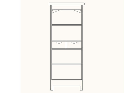 French Mountain Oak - Alpine Range Bookcase - narrow and tall