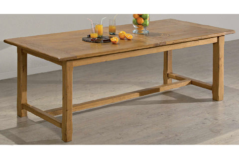 Farmhouse French Mountain Oak Centrally Extending Table - lightweight 2.8cm top With Footrail