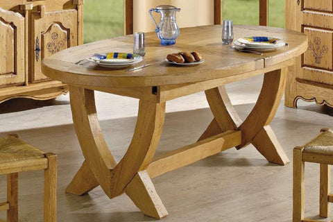 Extending Oval French Mountain Oak Monastery Table - V leg