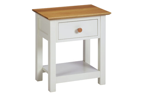 European Painted Oak Bedroom Range - bedside cabinet - 1 drawer - 1 shelf