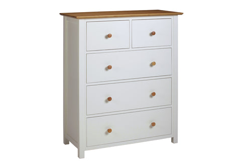 European Painted Oak Bedroom Range - chest of drawers - 5 drawer - 2 over 3