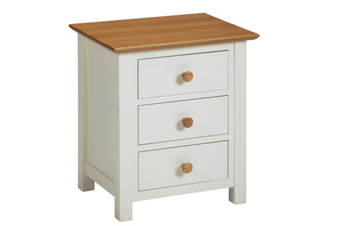 European Painted Oak Bedroom Range - bedside cabinet - 3 drawer