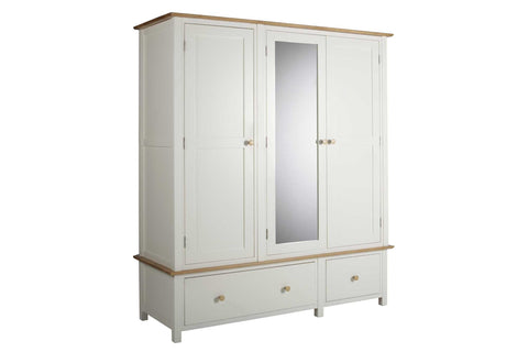 European Painted Oak Bedroom Range - wardrobe - triple