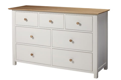 European Painted Oak Bedroom Range - chest of drawers - 7 drawer wide - 3 over 4