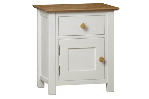 European Painted Oak Bedroom Range - bedside cabinet - 1 door - 1 drawer