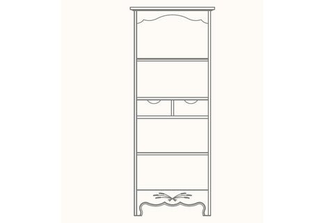 French Mountain Oak - Provence Range Bookcase - narrow with 2 drawers