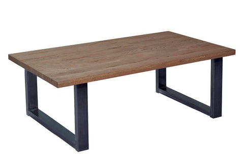 Stone Oak coffee table with U shaped steel legs - natural oil C$