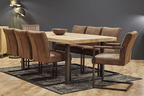 Designer Oak Stone Range Dining table - 6cm thick - Industrial Leg - optional extensions