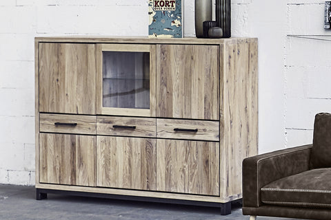 Designer Oak Stone Range Display triple cabinet low - 1 glass door, 5 oak doors, 3 drawers