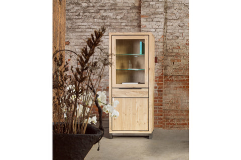 Designer Oak Stone Range Display single cabinet - 1 glass door, 1 oak door, 1 drawer