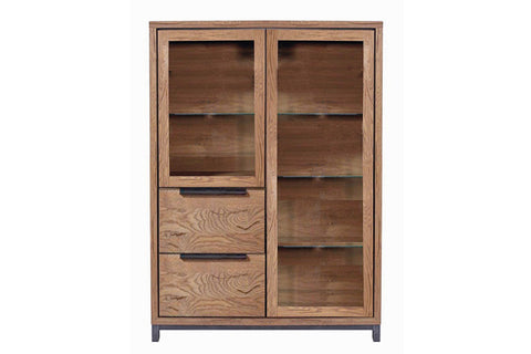 Designer Oak Stone Range Display double cabinet medium - 1 long glass door, 1 glass door, 2 deep drawers