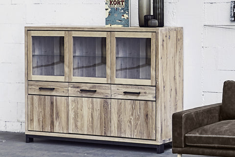 Designer Oak Stone Range Display triple cabinet low - 3 glass doors, 3 oak doors, 3 drawers
