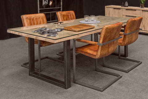 Designer Oak Stone Range Dining table - 4cm thick parquet top with glass top - Industrial Leg