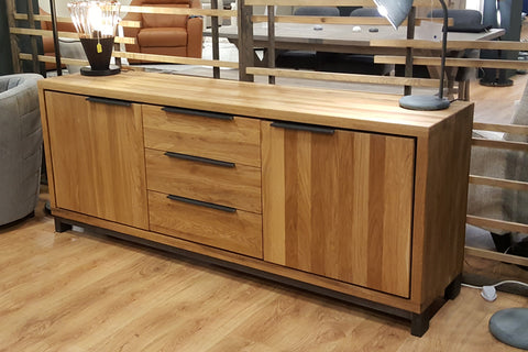 Designer Oak Stone Range Sideboard - 3 drawer - 2 door