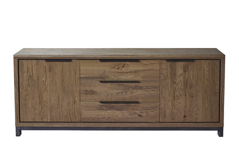 Designer Oak Stone Range Sideboard wide - 3 drawer - 2 door
