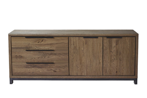 Designer Oak Stone Range Sideboard wide - 3 drawer - 1 cupboard with doors