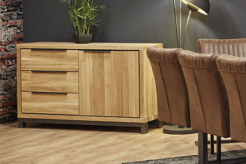 Designer Oak Stone Range Sideboard - 3 drawer - 1 door