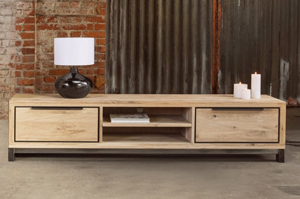 Designer Oak Stone Range TV Unit wide - 2 deep drawers - 1 shelf