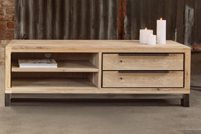 Designer Oak Stone Range TV Unit - 2 drawers