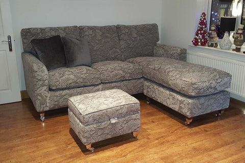 Santana sofa with chaise and reduced width arm