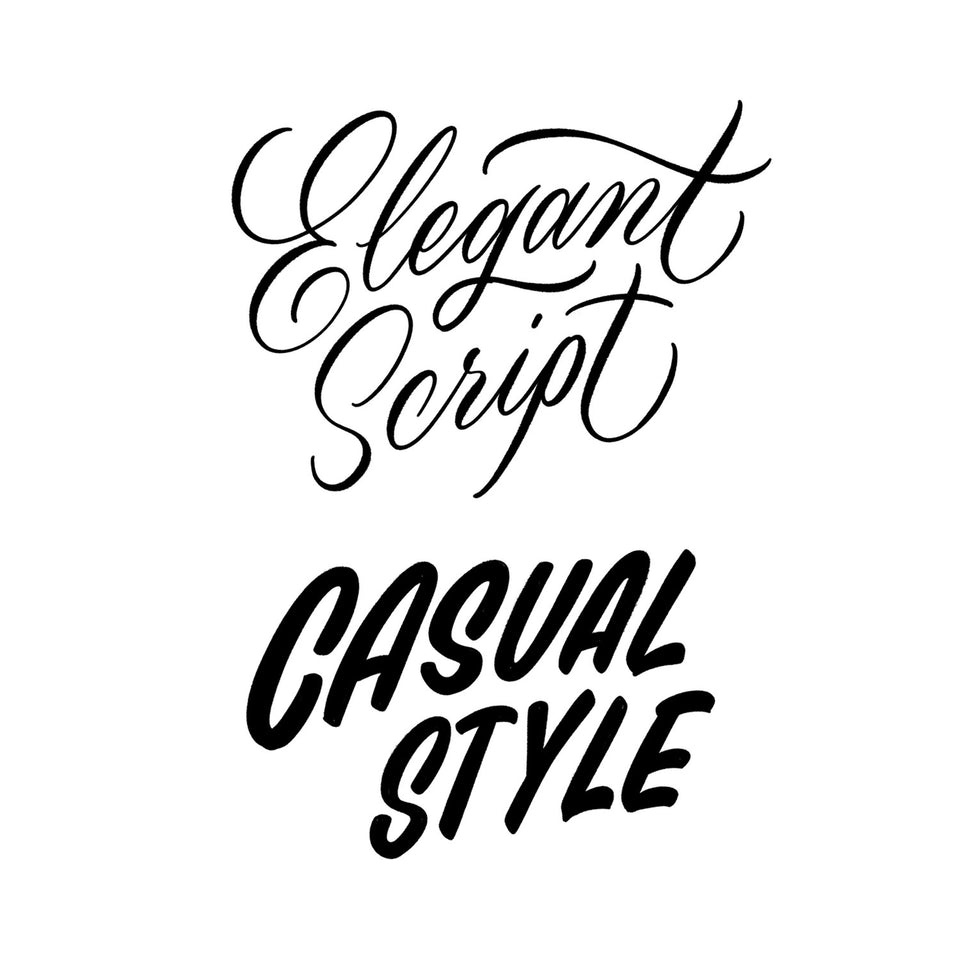 Two hand lettering styles, cursive script inspired by copperplate calligraphy and casual style inspired by sign writing.