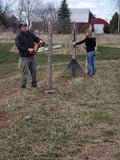 Installing the trellis posts for the grape vines to grow on in the vineyard - Winealot Vineyards LLC