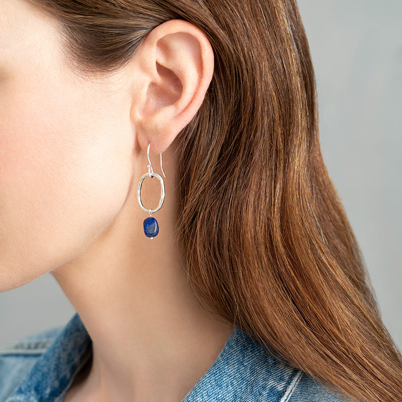 Lapis Lazuli Silver Earrings | Sustainable Jewelry