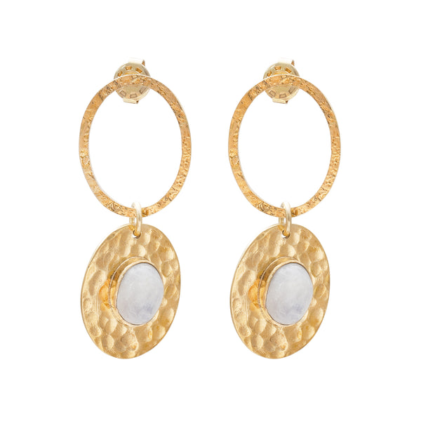 A Beautiful Story Thankful Moonstone Gold Earrings