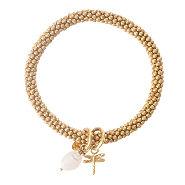 Duurzame sieraden | A Beautiful Story Jacky Moonstone Dragonfly Gold Bracelet