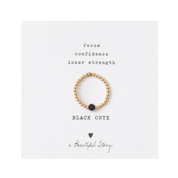 Duurzame Sieraden | A Beautiful Story Sparkle Black Onyx Gold Ring