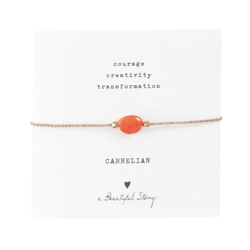 Duurzame sieraden | A Beautiful Story Gemstone Card Carnelian Gold Bracelet