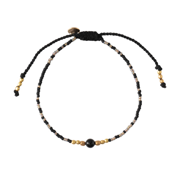 A Beautiful Story Iris Black Onyx Gold Bracelet