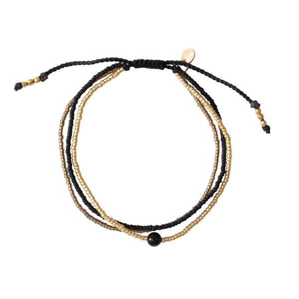 A Beautiful Story Bloom Black Onyx Gold Bracelet