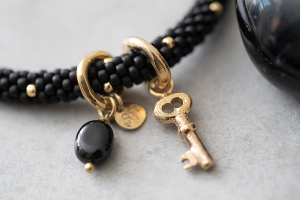 A Beautiful Story Jacky Multi Color Black Onyx Gold