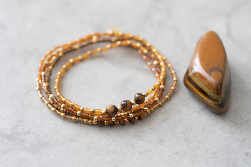 A Beautiful Story Together Tiger Eye Gold Bracelet